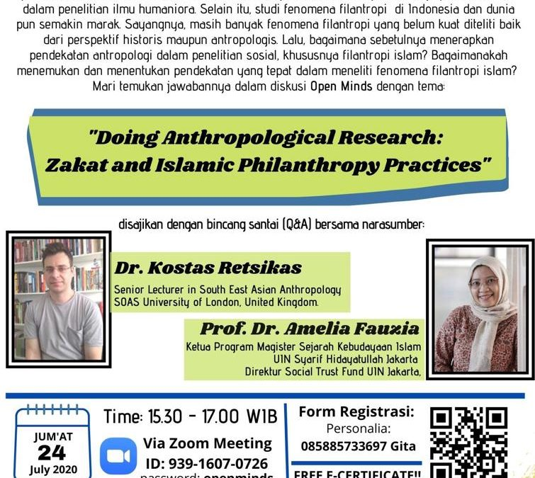 """OPEN MINDS: """"DOING ANTHROPOLOGICAL RESEARCH: ZAKAT AND ISLAMIC PHILANTHROPY PRACTICES"""""""